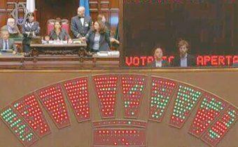"""E al voto sull'emendamento """"incriminato"""" alla legge elettorale approvato nell'Aula della Camera contro il parere della commissione scatta il """"giallo"""" del tabellone. Questi i fatti: la presidente Boldrini indice la votazione specificando che è a scrutinio segreto. Ma sul tabellone, cme si vede in questa imamgine twittata da Emanule Fiano del PD, invece di spuntare le palline tutte azzurre, come accade per le votazioni segrete, spuntano le palline rosse e verdi, come accade per quelle palesi. Si scorgono dei voti favorevoli nei banchi del Pd e di Fi. Ci si accorge dell'inconveniente, Boldrini chiede di rimediare e le palline diventano tutte azzurre. ANSA/TWITTER/EMANUELE FIANO"""