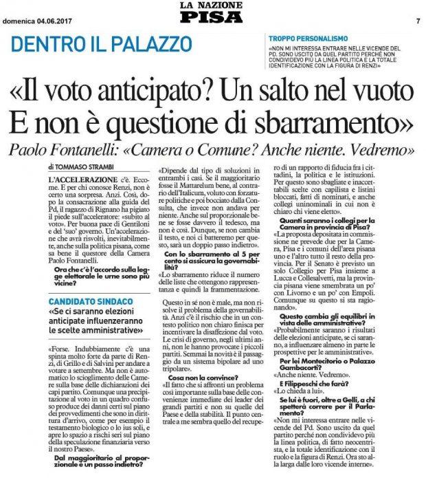 Intervista Paolo Fontanelli La Nazione 04 06 17