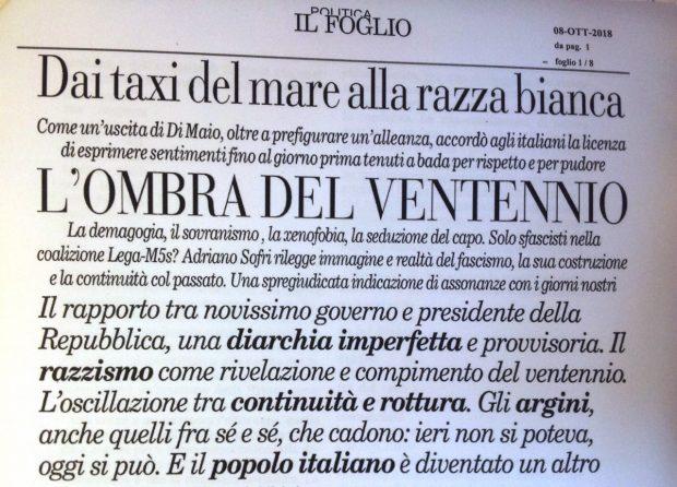 SOFRI Il Foglio emergenza razzismo Italia