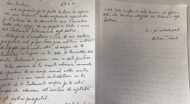 Lettera Antonio Tabucchi a Paolo Fontanelli